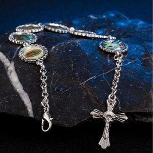 Faith Silver Tone Cross Bracelet